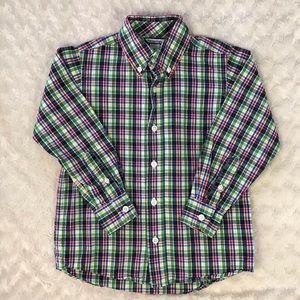 Hartstrings Plaid Button Down Shirt Size 5 Green